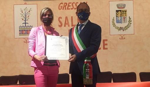Paola Pezzo ed il sindaco di Gressan, Michel Martinet