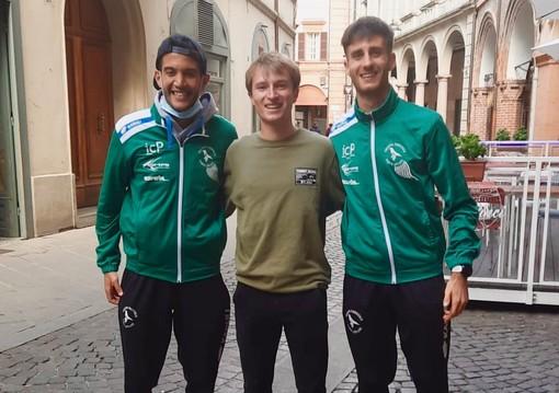 I tre valdostani protagonisti a Forlì nei Campionati italiani dei 10km su strada.Da sinistra Omar Bouamer, Jean Pierre Vallet, Lorenzo Brunier