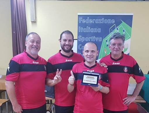 Asd Calcio Tavolo Aosta a Modena: da Sx Francesco Zolfanelli, Filippo Filippella, Marco Perotti e Paolo Ciboldi