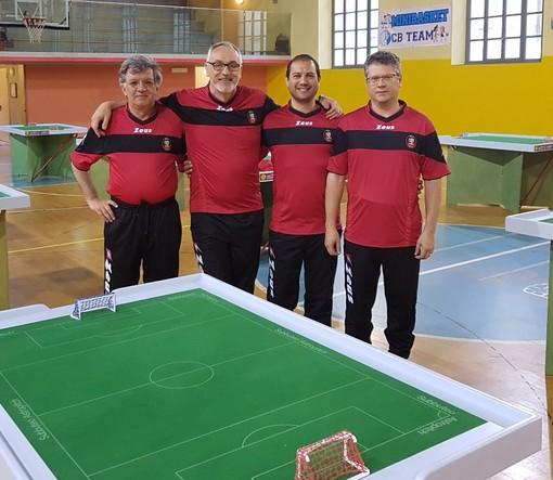 La squadra dell'ASD Calcio Tavolo Aosta 3° classificata all'Open FISCT del Piemonte Categoria Subbuteo – da Sx Paolo Ciboldi, Riccardo Rabacchin, Filippo Filippella e Marco Barbera