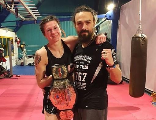 Martine Michieletto con il suo allenatore Bethaz