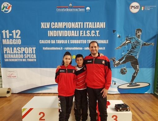 Da sn Julia Filippella (Categoria Ladies ed Under 15), Sean Filippella (Categoria Under 12) e Filippo Filippella (Categoria Subbuteo)